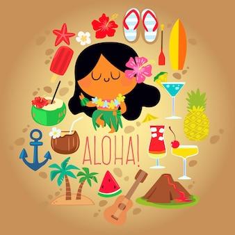 Hawaiian girl dancing with tropical item