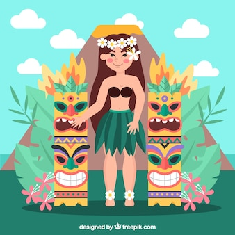 Hawaiian girl with tiki totems