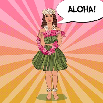 Hawaiian girl with tropical flower necklace