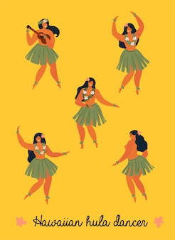 Hawaiian hula dancers young pretty woman banner