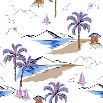 ハワイ島のシームレスなパターンベクトル