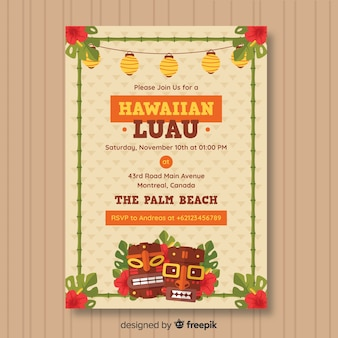Hawaiian luau party flyer