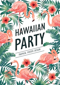 Гавайская вечеринка. векторная иллюстрация тропических птиц, цветы, листья.