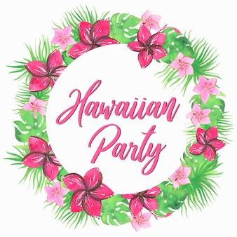 하와이안 파티, 화환. 수채화 그림입니다. 벡터 절연입니다.