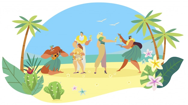 Hawaiian people welcome tourist family on exotic island, ethnic summer vacation,  illustration