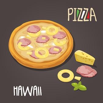 Гавайская пицца с ингредиентами. отдельные векторные иллюстрации плоский стиль.