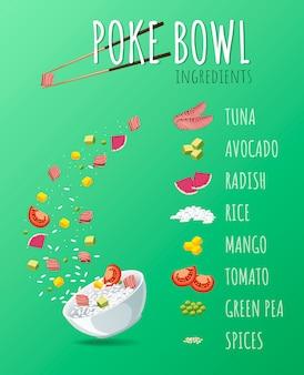 Hawaiian poke tuna bowl with greens and vegetables.