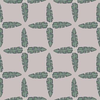 화려한 야자수 잎이 있는 기하학적 스타일의 하와이안 매끄러운 패턴입니다. 파스텔 라일락 배경입니다.