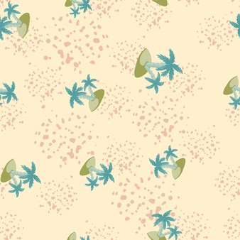 Hawaiian seamless pattern with blue random island and palm tree print. light pink background with splashes. designed for fabric design, textile print, wrapping, cover. vector illustration.