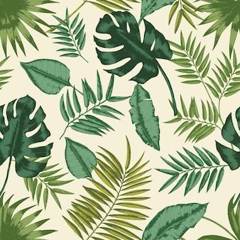 エキゾチックな葉を持つハワイのシームレスなパターン。