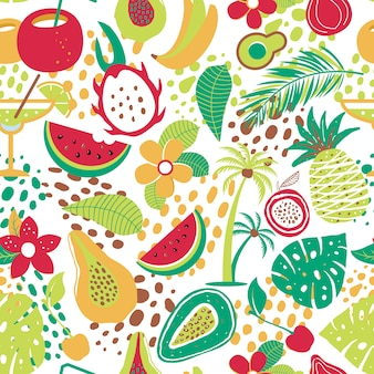 Hawaiian seamless pattern with tropical fruits and flowers