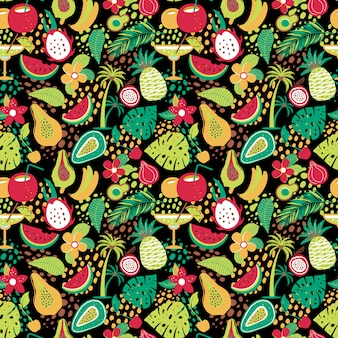 Hawaiian seamless pattern with tropical fruits and flowers.