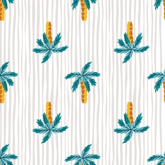 Hawaiian style seamless pattern with bright blue abstract palms tree silhouettes. striped grey background. designed for fabric design, textile print, wrapping, cover. vector illustration.