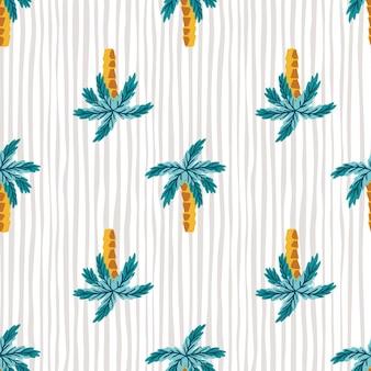 明るい青の抽象的なヤシの木のシルエットとハワイアンスタイルのシームレスなパターン。縞模様の灰色の背景。ファブリックデザイン、テキスタイルプリント、ラッピング、カバー用に設計されています。ベクトルイラスト。