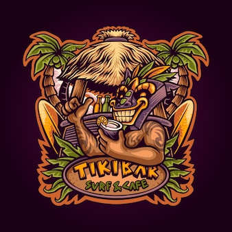 Hawaiian tiki bar illustration