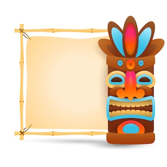 Hawaiian tribal mask and bamboo signboard