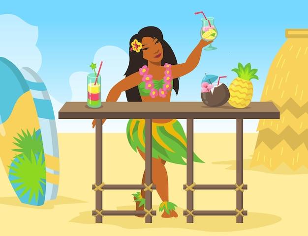 해변에서 이국적인 칵테일 음료를 판매하는 하와이 여자 무료 벡터