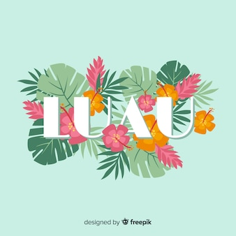 Луау слово hawaiian цветы фон