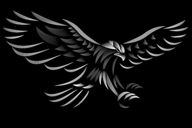 Hawk design. linocut style. black and white. line illustration.