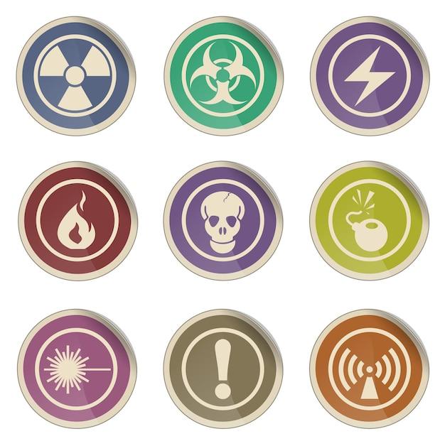 Hazard sign simple vector icon set
