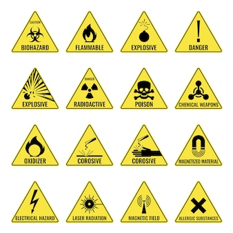 Треугольный желтый значок предупреждения об опасности