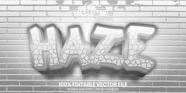 Haze text, font style editable text effect