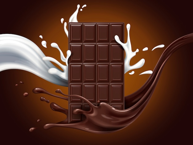 牛乳とココアの流れの要素、茶色の背景、イラストとヘーゼルナッツチョコレートの広告