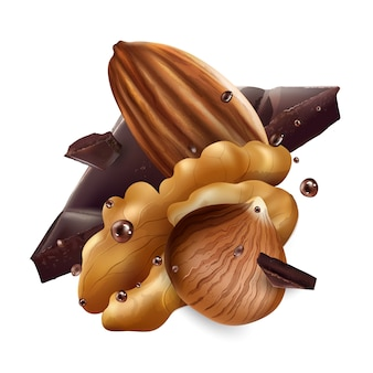 Фундук, миндаль и грецкие орехи с кусочками шоколада.