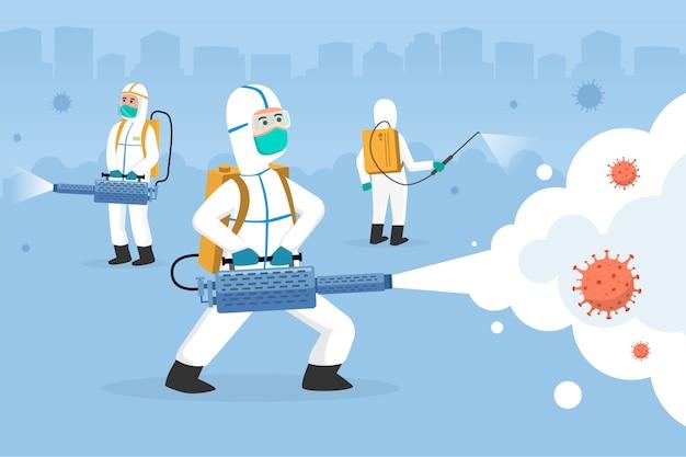 Дезинфекционная чистящая машинная струя с костюмом hazmat для заразного вируса. люди борются с вирусом короны с помощью дезинфицирующего средства. бой covid-19 карикатура иллюстрации концепции.