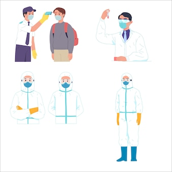 Мужчины получают температурный контроль ученый и медицинский работник hazmat
