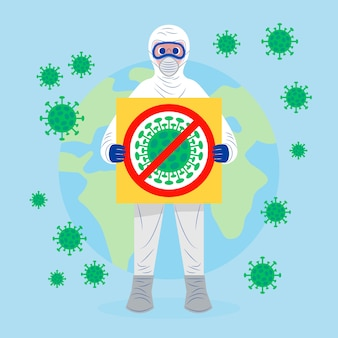 Пандемический концепт человек в костюме hazmat