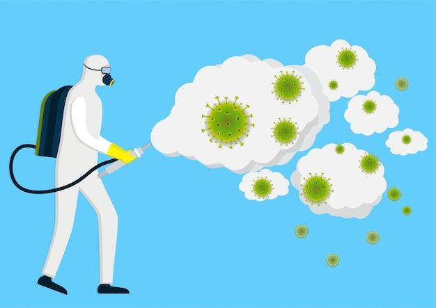 Человек в защитном костюме hazmat моет и дезинфицирует коронавирус