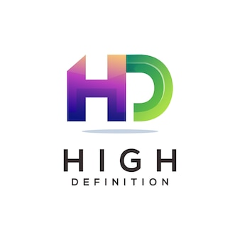 Hd letter logo colorful abstract