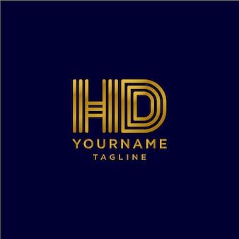Монограмма изящная буква hd начальный логотип с золотым цветом