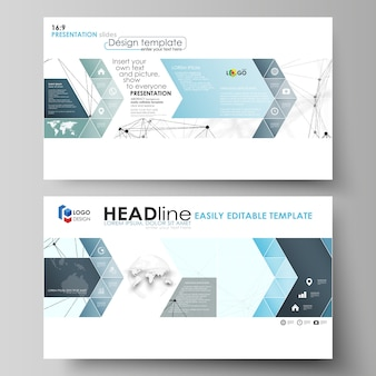 プレゼンテーションスライド用のhd形式のビジネステンプレート。フラットで抽象的なレイアウト。化学パターン、接続線とドット、白、幾何学的なグラフィックの分子構造