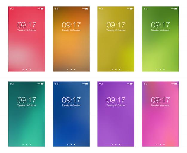 Набор ярких цветных абстрактных hd обоев для смартфона на экране мобильного фона