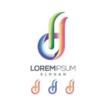Буква hd логотип градиент цвета