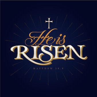 He is risen lettering with cross
