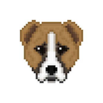 Head alabai dog in pixel art style