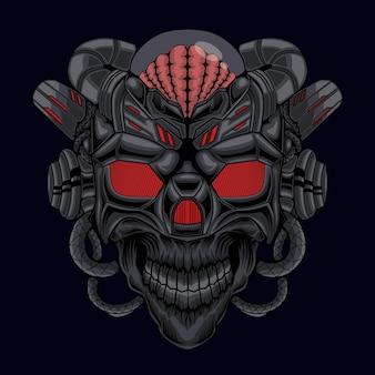 頭のエイリアンの頭蓋骨の戦士ロボットサイボーグベクトル図