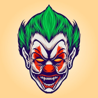 Head angry joker clown vector illustrations for your work logo, mascot merchandise t-shirt, stickers and label designs, poster, greeting cards advertising business company or brands. Premium Vector