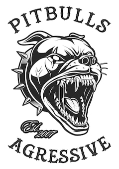 Head of angry pitbull.  on white. text is on the separate layer.
