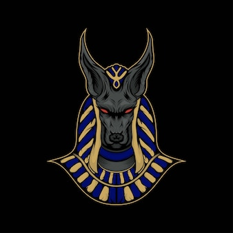 Head anubis mascot illustration