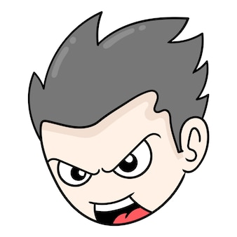 The head of the arrogant boy is angry full of vengeance, vector illustration carton emoticon. doodle icon drawing