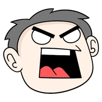 The head of the arrogant boy is full of anger, vector illustration carton emoticon. doodle icon drawing