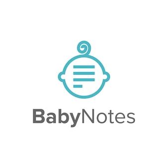 頭の赤ちゃんとノートシンプルで洗練された創造的な幾何学的なモダンなロゴデザイン