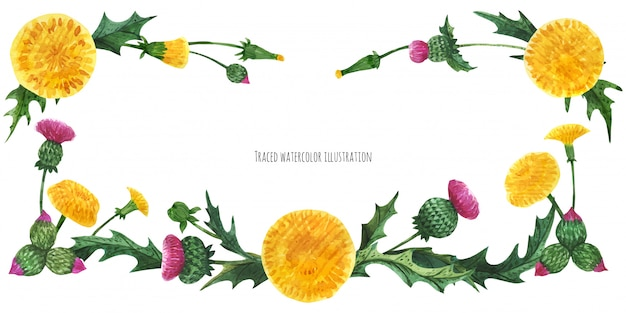 Head banner from thistle and dandelion
