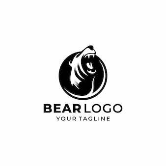 Head bear logo design vector