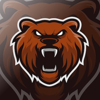 Head bear mascot esport logo