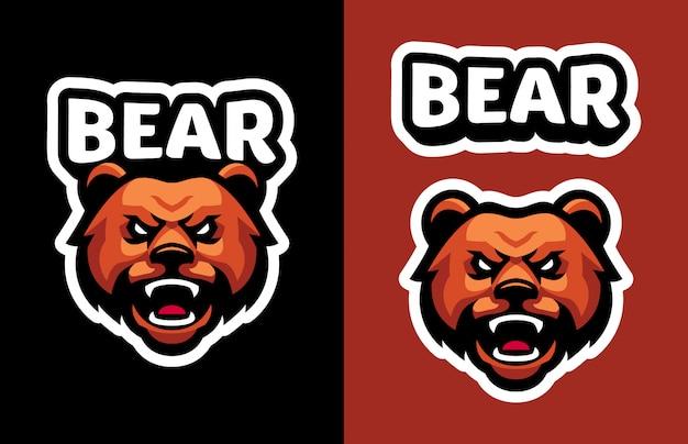 Head bear mascot logo for sports and esports logo